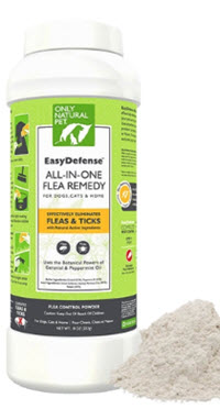 Natural flea powder featuring peppermint & geraniol that safely eliminates fleas from your pets and home. Completely non-toxic and chemical-free.Avalable from www.carolesdoggieworld.com.