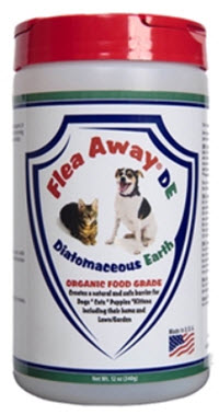 Diatomaceous powder for getting rid of fleas, available from www.carolesdoggieworld.com