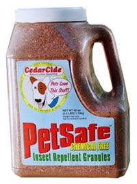 Red cedar granules will repel insects including fleas, chiggers, bull gnats, mosquitoes, horseflies, ants, and biting scorpions - available from www.carolesdoggieworld.com