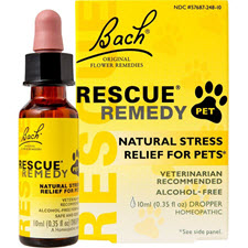 For relief of occasional stress. Dr. Bach's most famous Flower Essence formula, Rescue Remedy, is one of the world's best known natural stress relief remedies. Made from five of the Doctor's original 38 Flower Essences: Cherry Plum, Clematis, Impatiens, Rock Rose and Star of Bethlehem. Rescue Remedy is an all natural form of healing that can reduce everyday stress and help maintain control of your health. Effective in virtually any situation that causes stress or anxiety. Helps restore a sense of calm and control. Gentle, safe, effective treatment for the whole family, available from Caroles Doggie World.