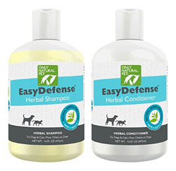 Shampoo & conditioner have 70% organic ingredients, neem oil & other natural herbs to help repel fleas, ticks, mosquitoes & more. Available fromcarolesdoggiesworld.com